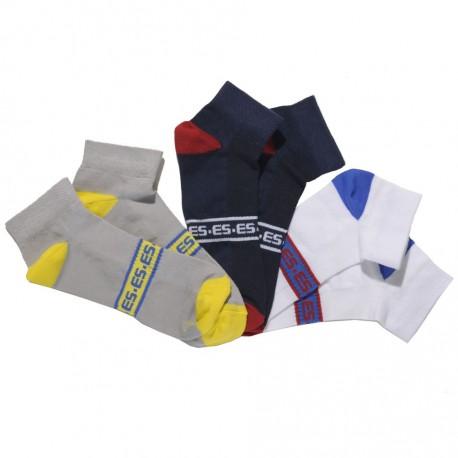 3-Pack Sport Ankle Socks - Grey - Navy - White