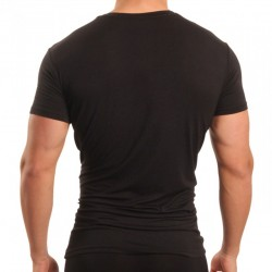 T-Shirt Six Pack Compression V-Neck Noir Papi