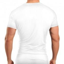T-Shirt Six Pack Compression V-Neck Blanc Papi