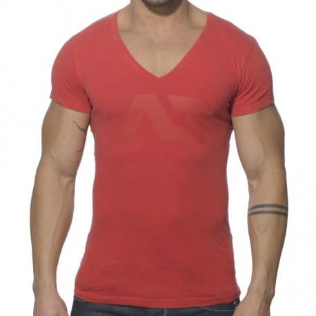 T-Shirt V-Neck Vintage Rouge