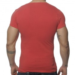 T-Shirt V-Neck Vintage Rouge Addicted