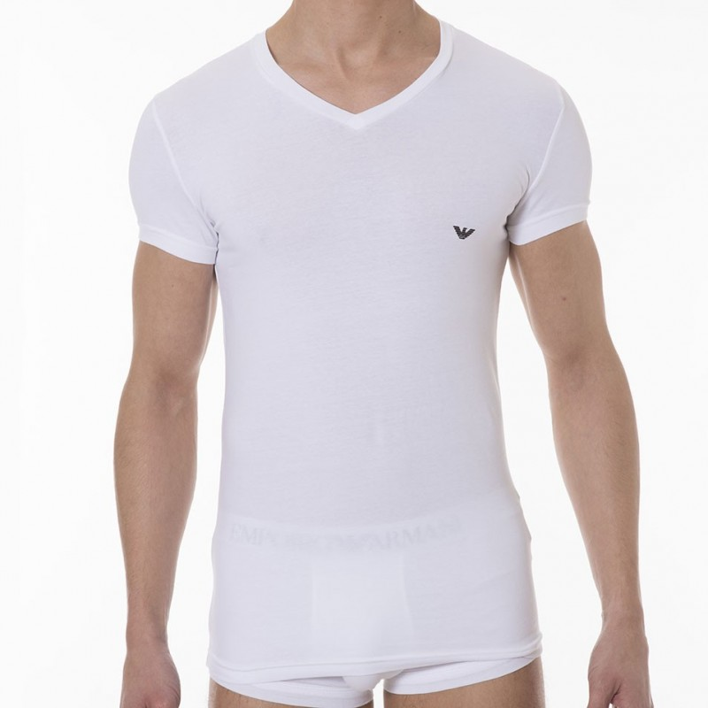 Emporio armani stretch cotton t shirt white for Thick white cotton t shirt