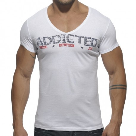 Addicted V-Neck T-Shirt - White