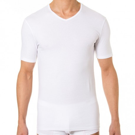 2-Pack Dry & Col V-Neck T-Shirts - White - Black