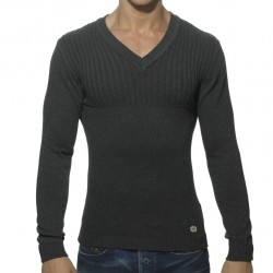 Ribbed Chest Sweater - Charcoal ES Collection