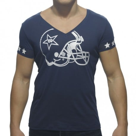 Helmet V-Neck T-Shirt - Navy