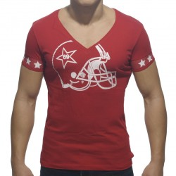 T-Shirt Helmet V-Neck Rouge Addicted