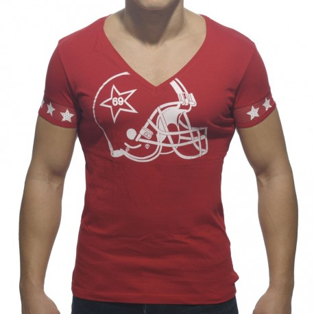 Helmet V-Neck T-Shirt - Red