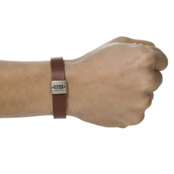 Bracelet en Cuir Marron ES Collection