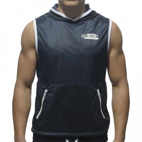 Zipper Pocket Hoody Tank Top - Navy