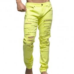 Pantalon Jeans Slashed Jaune Fluo Andrew Christian