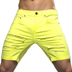 Bermuda Jeans Slashed Jaune Fluo Andrew Christian