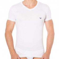 T-Shirt Blue Microfiber - Blanc Emporio Armani