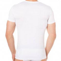 Blue Microfiber T-Shirt - White Emporio Armani