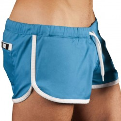 Gym Short - Blue - White Barcode