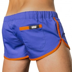 Gym Short - Royal - Orange Barcode