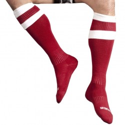 Football Socks - Red - White Barcode