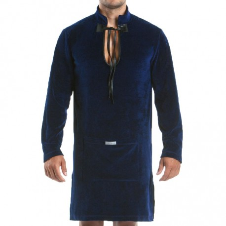 Wolf Bathrobe - Navy