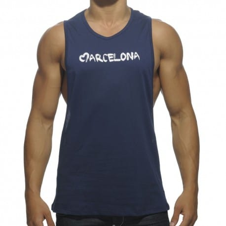 Barcelona Cotton Tank Top - Navy