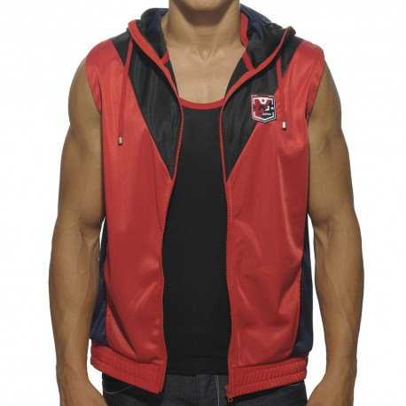 Blocking Color Hoody - Red - Black
