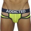 Holey Jock Brief - Yellow - Navy