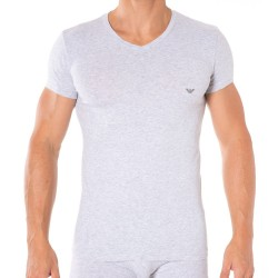 T-Shirt V-Neck Stretch Cotton Gris Emporio Armani