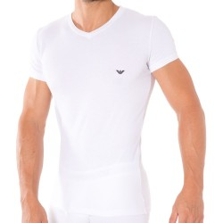 T-Shirt V-Neck Stretch Cotton Blanc Emporio Armani