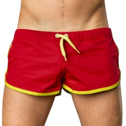 Gym Short - Red - Neon Green Barcode