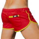 Gym Short - Red - Neon Green