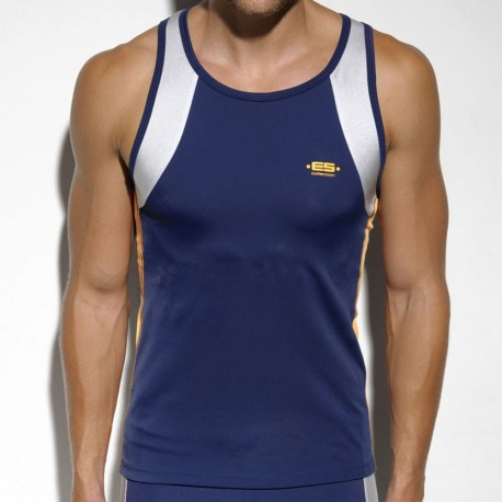 Silver Running Tank Top - Navy