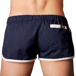 Gym Short - Navy - White Barcode