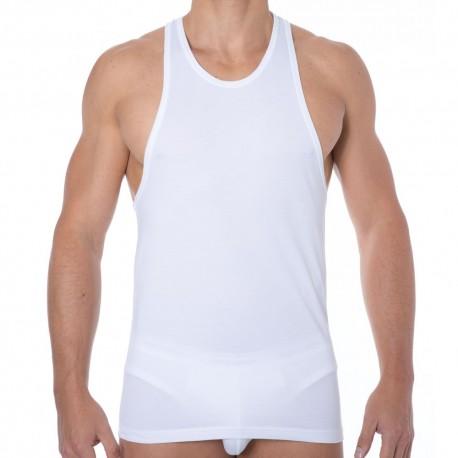 Jersey Cotton Stretch Tank Top - White