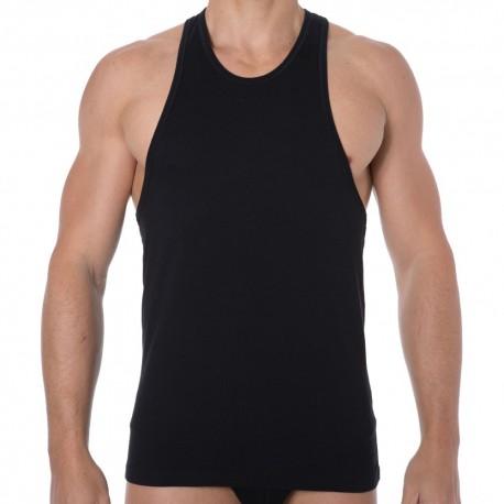 Jersey Cotton Stretch Tank Top - Black