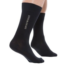 Chaussettes Trendy Plain Stretch Cotton Noires Emporio Armani