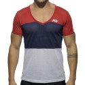 Three Colors Mesh V-Neck T-Shirt - Red - Navy