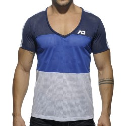 T-Shirt V-Neck Three Colors Mesh Marine - Royal Addicted