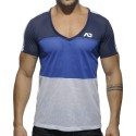 Three Colors Mesh V-Neck T-Shirt - Navy - Royal