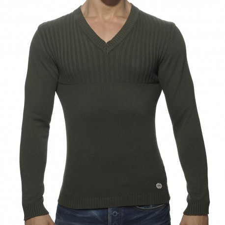 Ribbed Chest Sweater - Khaki