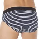 3-Pack Cotton Briefs - Stripes - Grey - Navy