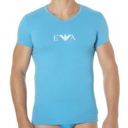 T-Shirt Colored Basic Cotton Stretch Turquoise Emporio Armani