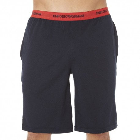 Colored Basic Cotton Stretch Bermuda Shorts - Navy