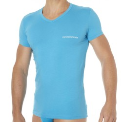 Lot de 2 T-Shirts Colored Basic Cotton Stretch Marine - Turquoise Emporio Armani