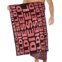 Diesel Logo Towel - Black - Pink