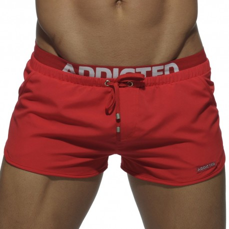 Double Waistband Swim Short - Red