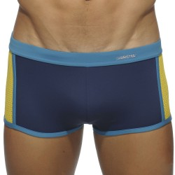 Boxer de Bain Back Pocket Marine - Jaune Addicted