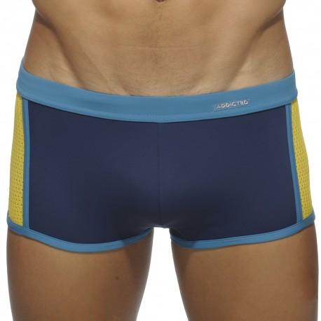 Back Pocket Swim Boxer - Navy - Yellow