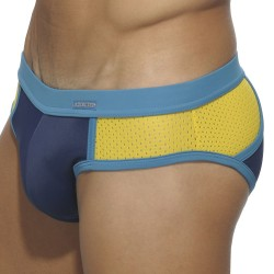 Slip de Bain Back Pocket Marine - Jaune Addicted