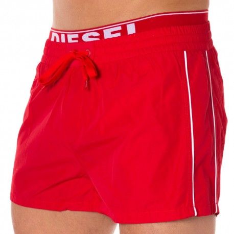 Logo Waistband Swim Short - Red