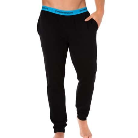 Colored Basic French Terry Pants - Black