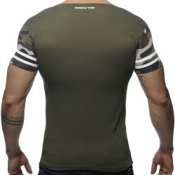 T-Shirt V-Neck H8T Kaki Addicted